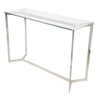 Monza Console Table Glass Top, Stainless Steel