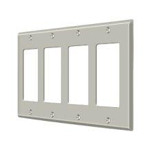 Switch Plate, Quadruple Rocker - Brushed Nickel