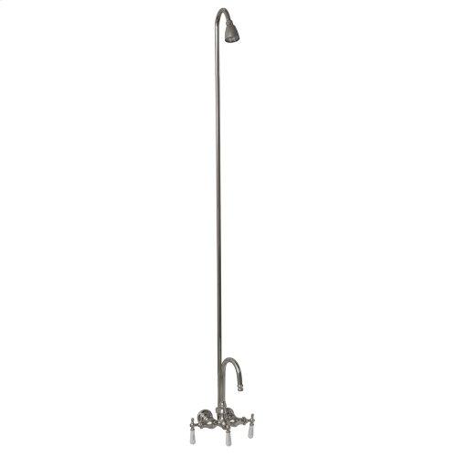 Tub/Shower Converto Unit - Diverter Faucet, Gooseneck Spout for Cast Iron Tub - Polished Chrome