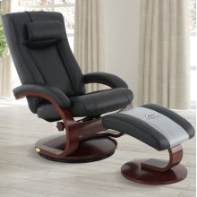 Black (Black) Top Grain Leather With Merlot Finish -Reclines -Swivels -Adjustable Cervical Pillow -Quality Top Grain Leather -Angled Ottoman