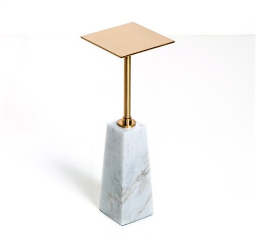 Beck Square Drink Table - White/ Antique Brass