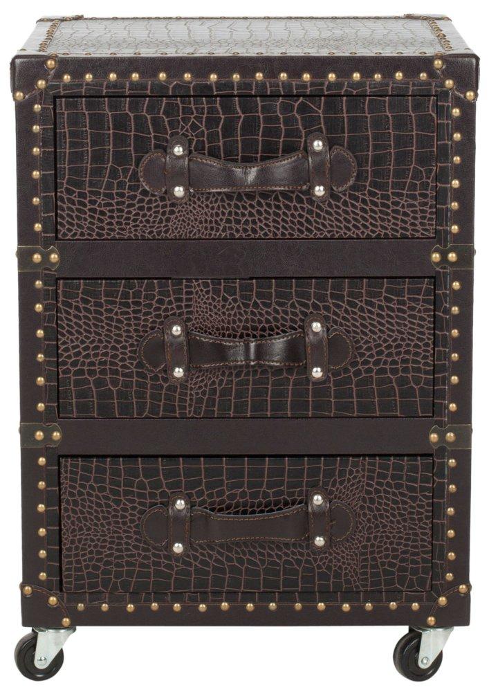 Lloyd 3 Drawer Rolling Chest / Dark Brown Croc Leather-black - Black / Brown / Silver