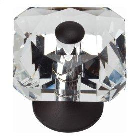 Crystal Large Square Knob 1 1/2 Inch - Matte Black