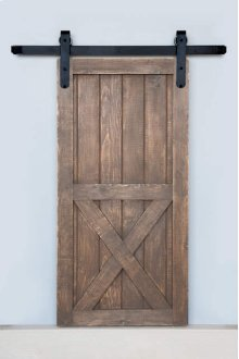 7' Barn Door Flat Track Hardware - Smooth Iron Round End Carrier Style