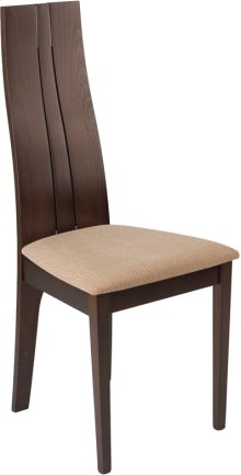Essex Espresso Finish Wood Dining Chair with Brown Fabric Seat
