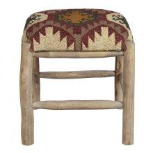 Rustic Upholstered Wood Stool in Southwest Ganado Pattern