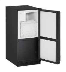"1000 Series 15"" Crescent Ice Maker With Black Solid Finish and Field Reversible Door Swing"