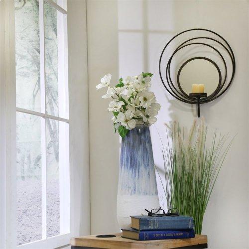 """Ceramic 18"""" Vase, Blue/white"""