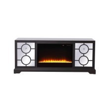 60 in. mirrored TV stand with crystal fireplace insert in dark walnut