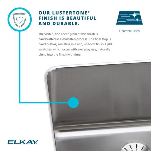 "Elkay Lustertone Classic Stainless Steel 33"" x 20-1/2"" x 10"", Equal Double Bowl Farmhouse Sink Kit"