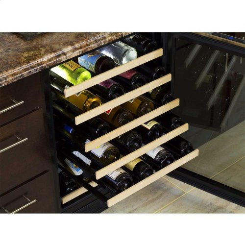 "24"" High Efficiency Single Zone Wine Cellar - Stainless Steel Frame, Glass Door - Left Hinge, Stainless Designer Handle"