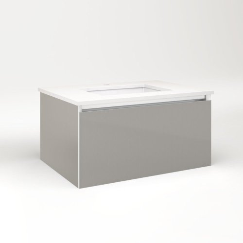 """Cartesian 30-1/8"""" X 15"""" X 21-3/4"""" Single Drawer Vanity In Silver Screen With Slow-close Plumbing Drawer and No Night Light"""