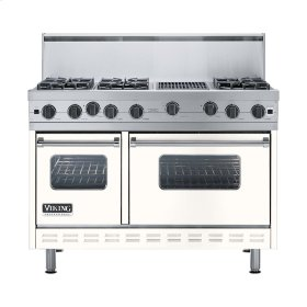 "Cotton White 48"" Open Burner Range - VGIC (48"" wide, six burners 12"" wide char-grill)"