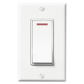 Single Gang Control. One smooth action on/off rocker switch with pilot light which glows when power is on. Fits single gang box