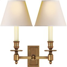 Visual Comfort S2212HAB-NP Studio French 2 Light 12 inch Hand-Rubbed Antique Brass Decorative Wall Light in Natural Paper