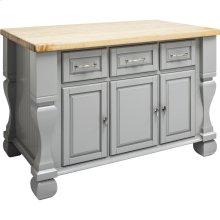 "52-5/8"" x 32-3/8"" x 35-1/4"" Furniture style kitchen island with Grey finish."