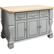 "52-5/8"" x 32-3/8"" x 35-1/4"" Grey furniture style kitchen island with ample cabinet storage as well as open shelving on the reverse"