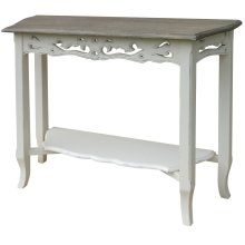 Carved Console Tbl - Wht/rw