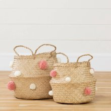 Woven Belly Baskets with Pompoms - Set of 2 - Natural Seagrass, White and Pink