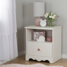 1-Drawer Nightstand - End Table with Storage - White Wash