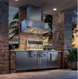 "60"" SS Pro-Style Range Hood with Extra Large Capture Designed for Outdoor Cooking in Covered Lanais"
