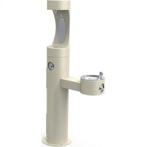 Elkay Outdoor ezH2O Bottle Filling Station Bi-Level Pedestal, Non-Filtered Non-Refrigerated Freeze Resistant Beige Product Image