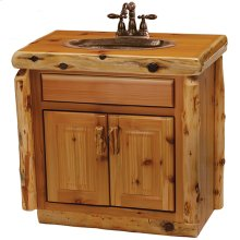 Vanity with Top - 30-inch - Natural Cedar - Sink Center - Liquid Glass