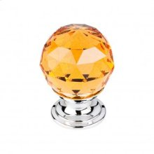 Amber Crystal Knob 1 1/8 Inch - Polished Chrome