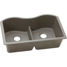 "Elkay Quartz Classic 33"" x 20"" x 9-1/2"", Equal Double Bowl Undermount Sink with Aqua Divide, Greige"