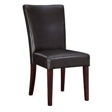 "Brown Bonded Leather Parsons Chair, 20-1/2"" Seat Height Product Image"