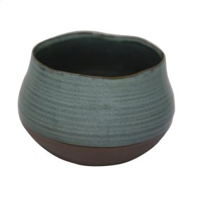 "Ceramic 6.75"" Planter, Teal/brown"
