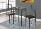 DINING SET - 3PCS SET / BLACK METAL / TEMPERED GLASS Product Image