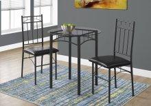 DINING SET - 3PCS SET / BLACK METAL / TEMPERED GLASS