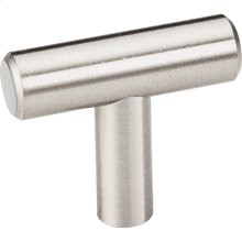 """39 mm (1-1/2"""") Overall Length 7/16"""" Diameter Hollow Stainless Steel Cabinet Bar Pull """"T"""" Knob with Beveled Ends."""