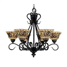 Tiffany Buckingham 6-Light Chandelier in Vintage Antique