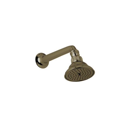 "Tuscan Brass 3 1/16"" Perletto Showerhead With 7 1/8"" Shower Arm"