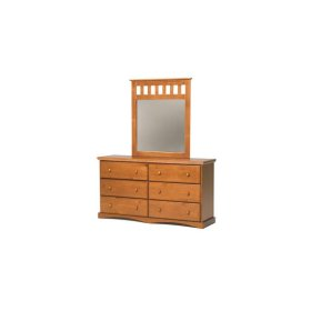 Pine Ridge 6 Drawer Dresser with options: Honey Pine