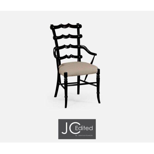 "Black ""Yoke"" Ladderback Armchair, Upholstered in MAZO"