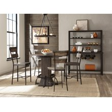Jennings 5 Piece Round Counter Height Dining Set With Non-swivel Counter Stools - Distressed Walnut
