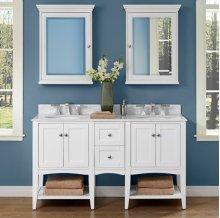 "Shaker Americana 60"" Open Shelf Modular Vanity - Polar White"
