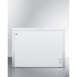 SummitCommercially Listed 9 CU.FT. Manual Defrost Chest Freezer In White With Stainless Steel Corner Protectors