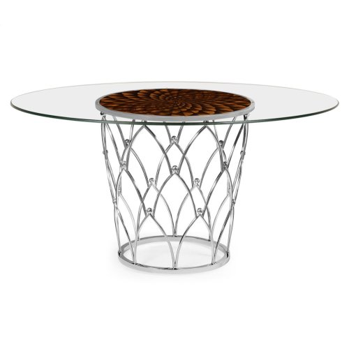 Feather Inlay Glass Top Dining Table