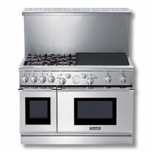 """48"""" Pro Grand® Dual-Fuel Range with 4 Star® Burners (2 W/ ExtraLow®) and 24"""" Electric Griddle"""