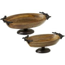 Oval Pedestal Stand with Antler Handles (2 pc. set)