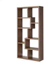 - Eight shelf bookcase finished in walnut - Constructed with MDF, particle board, and engineered veneer- Also available in weathered grey (#800510), cappuccino (#800264), white (#800136), grey driftwood (#801137), and elm (#801302) Product Image