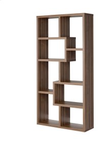- Eight shelf bookcase finished in walnut - Constructed with MDF, particle board, and engineered veneer- Also available in weathered grey (#800510), cappuccino (#800264), white (#800136), grey driftwood (#801137), and elm (#801302)