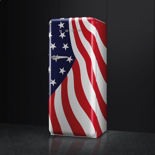 50'S Style Refrigerator with ice compartment, US Flag, Right hand hinge