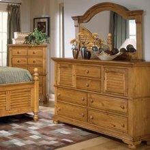 Seven Drawer High Dresser & Dressing Mirror