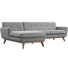 Engage Left-Facing Upholstered Fabric Sectional Sofa in Expectation Gray