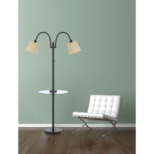 40W 3 Way Gailmetal Double Gooseneck Floor Lamp Withglass Tray Table And Two Usb Charging Ports.